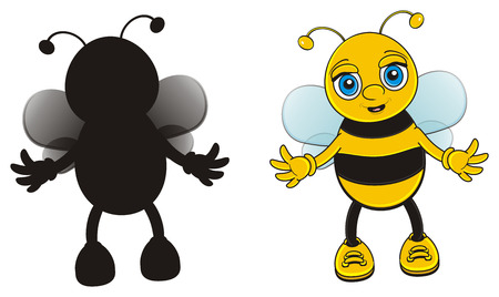 solid color: color bee with solid black bee Stock Photo