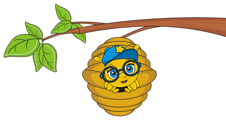 stick out: cute muzzle of bee in cap and glasses peek up from hive on the tree