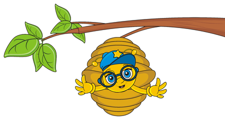 raise: muzzle of bee in cap and glasses peek up from hive and raise her paws on the side Stock Photo