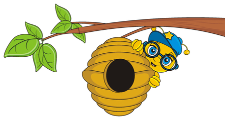 stick out: bee in blue glasses and cap stick out from beehive