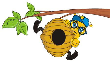 stick out: bee in cap show gesture cool and peek up from hive