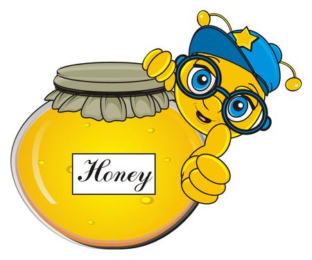bee peek up from full bank of honey Stock Photo