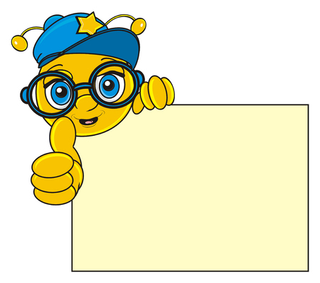 stick out: smiling face of bee in cool cap and glasses peek up from clean paper and show gesture class