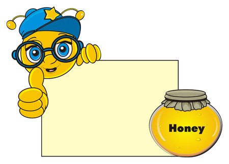snout of cute bee in glasses peek up from blank poster