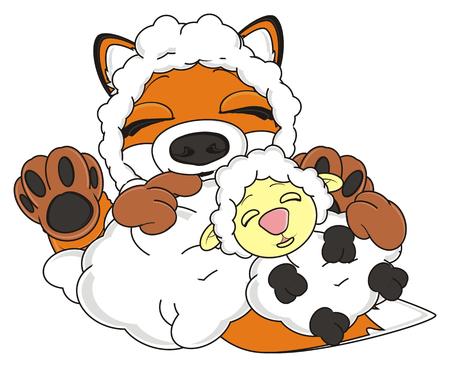 sheep skin: sleeping fox in sheep skin hold a sleeping sheep