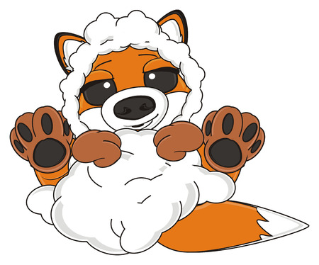 sheep skin: shy fox in sheep skin lying on his back