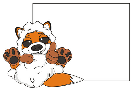 claen: fox in sheep skin lying near the clean paper and show gesture class