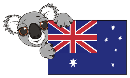 snout: funny snout of koala peek up from Australian flag Stock Photo