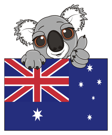 stick out: muzzle of koala peek up from Australian flag and show gesture class