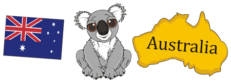 middle: koala sitting in the middle of Australian continent and flag Stock Photo
