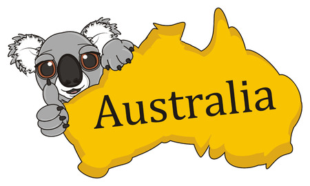 snout: snout of koala peek up from Australian continent and show gesture class Stock Photo