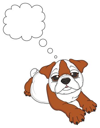 english bulldog lying and dreaming about something Stock Photo