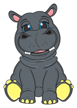 cute gray hippo