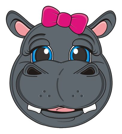moño rosa: muzzle of hippo girl with pink bow