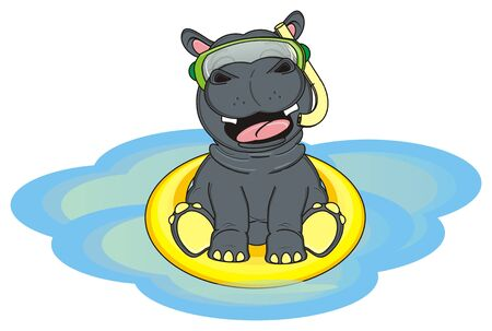 hippo in diving mask swimming on the water Stock Photo