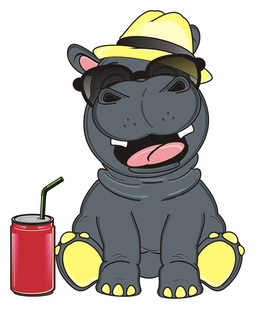 soda can: hippo in sunglasses and hat with soda can