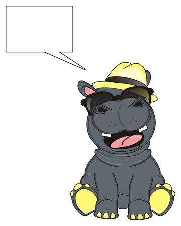 call out: hippo in hat and sunglasses with clean call out
