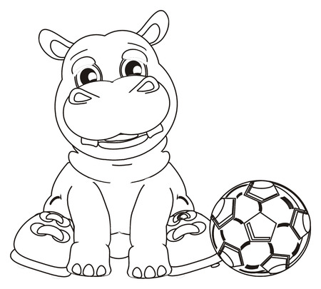 soccer balls: coloring hippo with boots and ball soccer