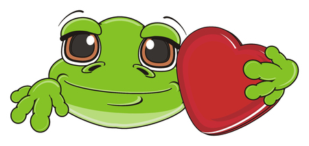 snout of green frog with red heart Stock Photo