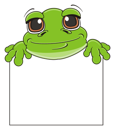 happy face of green frog peek up fron clean banner Stock Photo