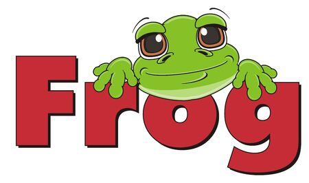 cute snout of green frog with word frog Stock Photo