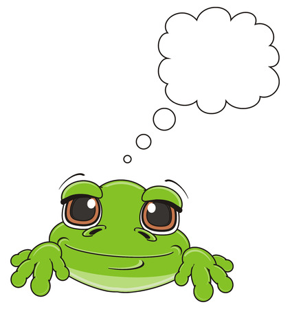 green frog with clean footnote Stock Photo
