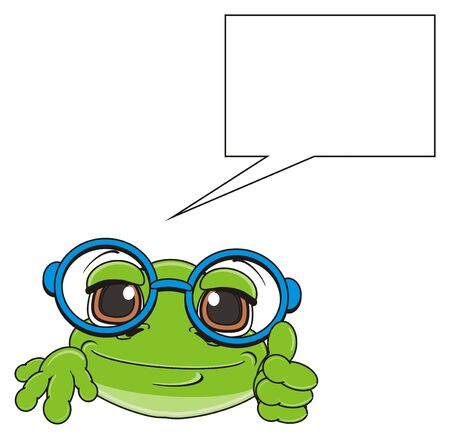 snout: snout of green frog in glasses and clean callout