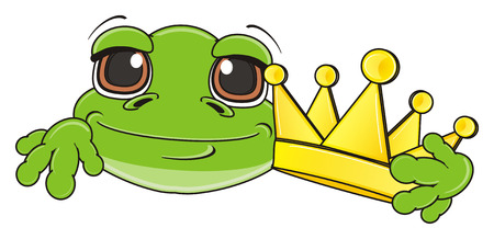 muzzle of green frog with golden crown