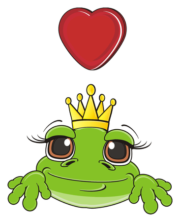 face of frog in crown with red heart Stock Photo