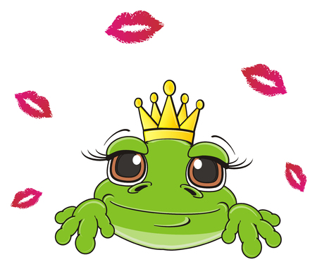 snout: snout of frog in crown around a lot of lipstick kisses Stock Photo