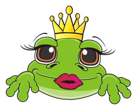 snout: snout of frog in crown with lipstick