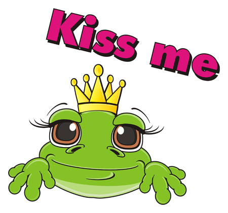 muzzle: muzzle of frog in crown and inscription kiss me Stock Photo
