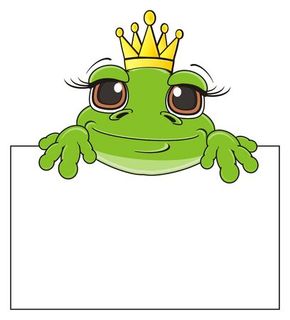 princess frog: happy face of frog in crown peek up fron clean paper