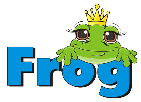 snout: snout of frog in crown peek up fron word frog Stock Photo