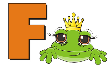 muzzle of frog in crown with letter f
