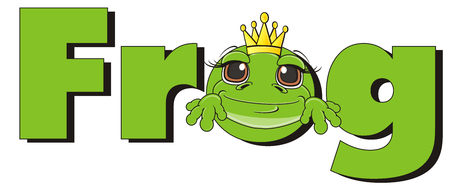 snout: snout of frog in crown peek up from green word frog Stock Photo