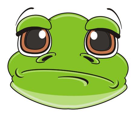 terrarium: sad face of green frog
