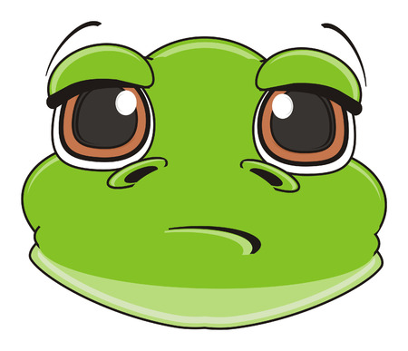 snout: sad snout of green frog