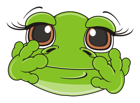 happy muzzle of green frog Stock Photo