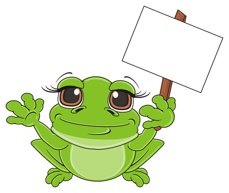 green frog sit and hold a clean paper on stick Stock Photo