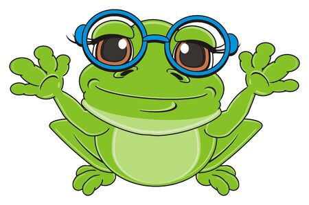 terrarium: green frog in blue glasses