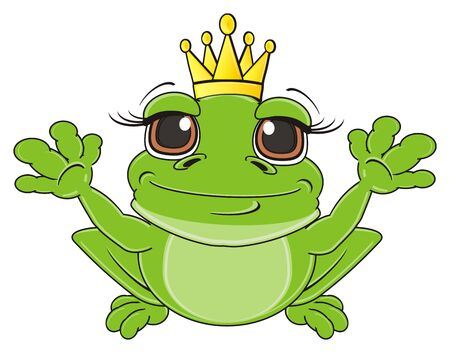 kind: frog in crown sit and raise up her paws
