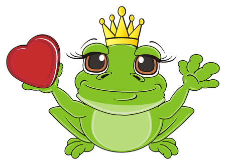 frog in crown sit and hold a heart