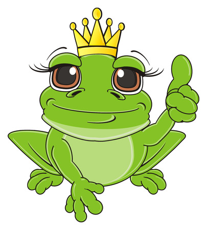 frog in crown sit and show gesture class Stock Photo