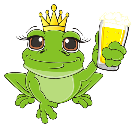princess frog: frog in crown sit and hold a glass of beer