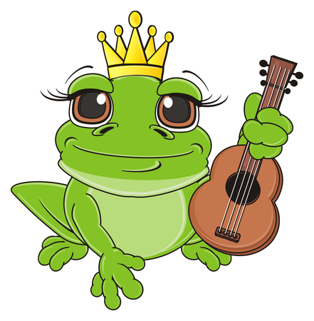 princess frog: frog in crown sit and hold a guitar Stock Photo
