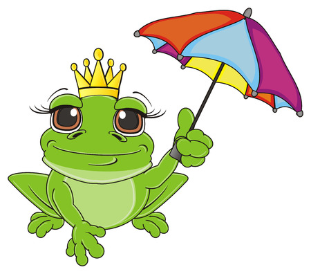 frog with crown sit and hold a colorful umbrella