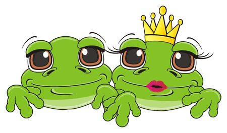 snout of two cute green frogs Stock Photo