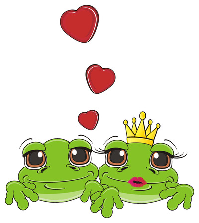 muzzle of two green frogs in love