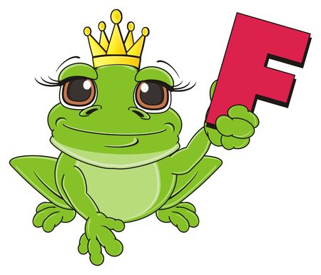 frog with crown sit and hold letter f